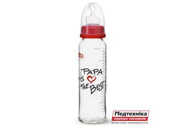 Антиколиковая пластиковая бутылочка со стандартным горлышком (250 мл) Биби PAPA is the best