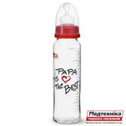 Антиколиковая стеклянная бутылочка со стандартным горлышком (240 мл) Биби PAPA is the best