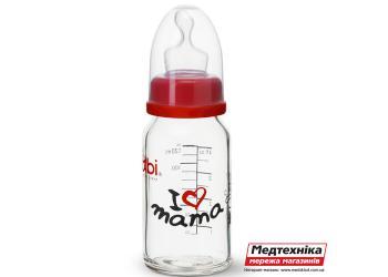 Антиколиковая бутылочка со стандартным горлышком (125 мл.) Биби I LOVE MAMA